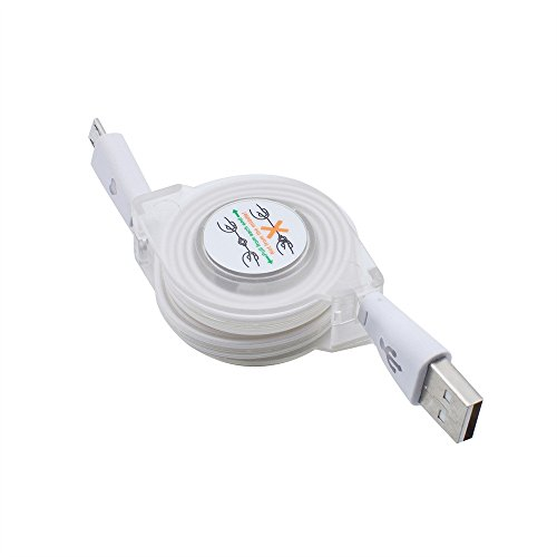 - LED Light Micro USB to USB Retractable Cable Data Charger Charging Cord for Phone by Charberry (White)