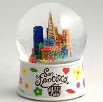 San Francisco Flowers Snow Globe 3 Inches