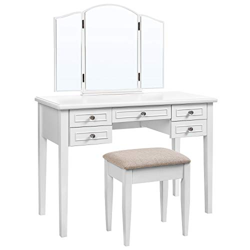 VASAGLE Vanity Set with Tri-Fold Mirror, Dressing Table with 5 Drawers, Desk with 1 Stool, Makeup and Cosmetics Storage, Multifunctional, Easy to Assemble, White URDT107WT (Vanity Table With Bedroom Drawers)