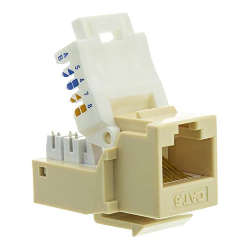 GOWOS Cat6 Keystone Jack, Beige/Ivory, Toolless, RJ45 Female