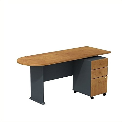 Bush Business Furniture Series A Peninsula Desk with 3 Drawer Mobile Pedestal, Natural Cherry