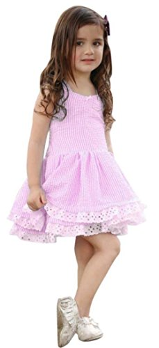 (Happy Town Clearance Sale!!Toddler Girl Dress, Cool Summer Young Girl Blue Striped Lace Suspender Party Pageant Dress (Pink, 12-18)