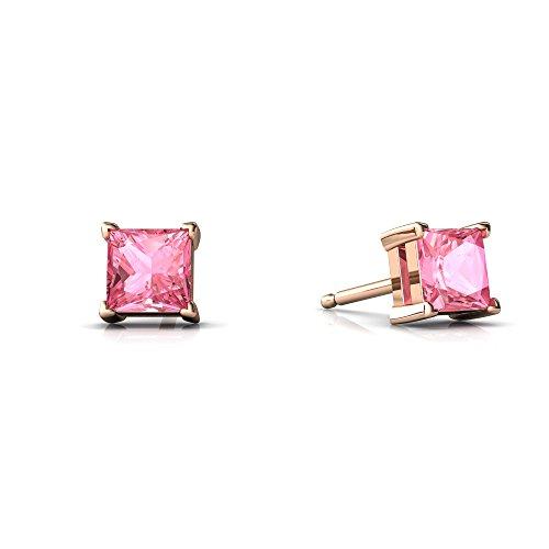 14kt Rose Gold Lab Pink Sapphire 4mm Square Princess Cut Stud Earrings