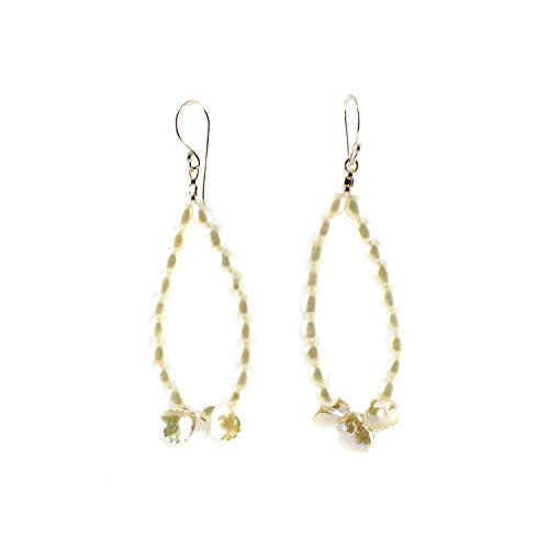 Pearl Beaded Hoop Earrings with Freshwater Pearls and Keishi Pearls | June Birthstone Earrings
