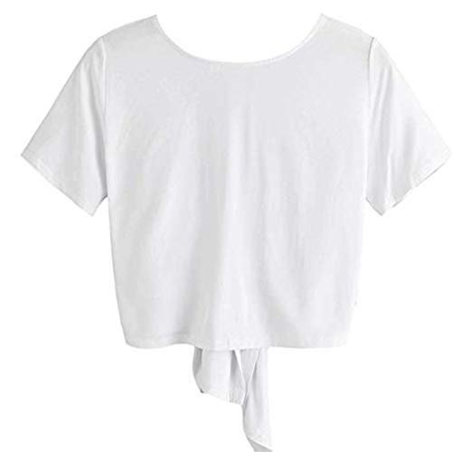Aunimeifly Women's Knotted Bow Short Sleeve T-Shirt Open Back V-Neck Crop Tank Tops ()
