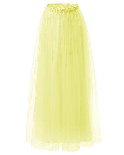 Dresstells Falda Mujer Largo Maxi Tul De Noche Fiesta Boda Madrina Yellow