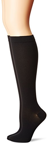 MediPeds Nylon Over The Calf Socks with Compression Fit 2 Pairs, Black, W 7-10 / M 6-9
