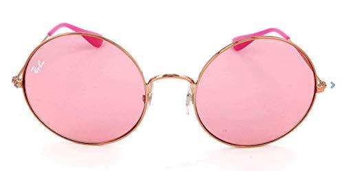 (Ray-Ban Women's Metal Woman Non-Polarized Iridium Round Sunglasses (RB3592), Shiny Copper / Pink Dark Mirror Red, 55 mm)