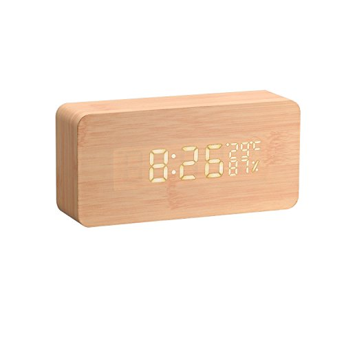Rye-Tech Multi-function LED Wood Clock with Temperature a...