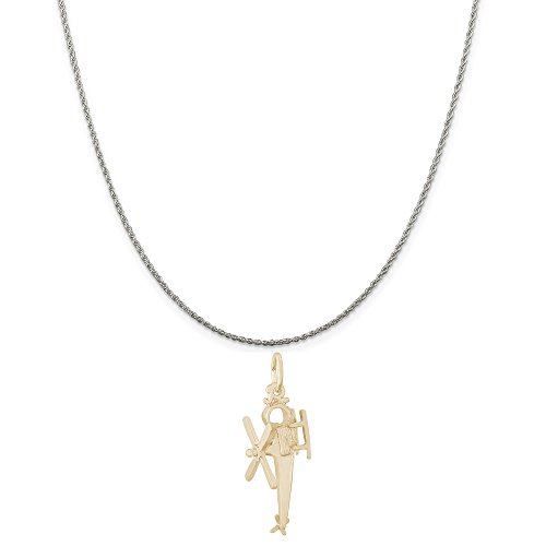 Rembrandt Charms Two-Tone Sterling Silver Helicopter Charm on a Sterling Silver Rope Chain Necklace, 16""