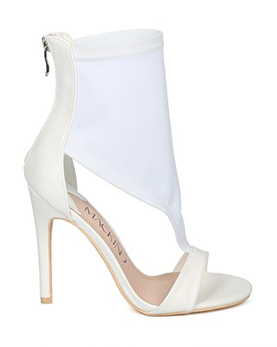 Alrisco Femme Mixed Media Bout Ouvert Décolleté Sandale Stiletto - Hg84 Par Mackinj Collection White Mix Media