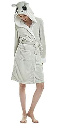 Adult Unicorn Soft Flannel Plush Hooded Bathrobe Bathing Suits Women Men