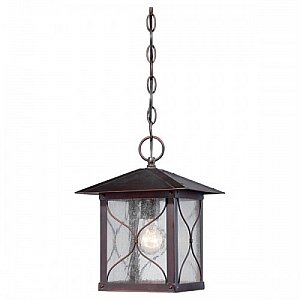 Nuvo Lighting 60/5614 Vega Hanging One Light Lantern 100-watt Outdoor Pendant Porch and Patio Lighting with Clear Seeded Glass, Classic Bronze