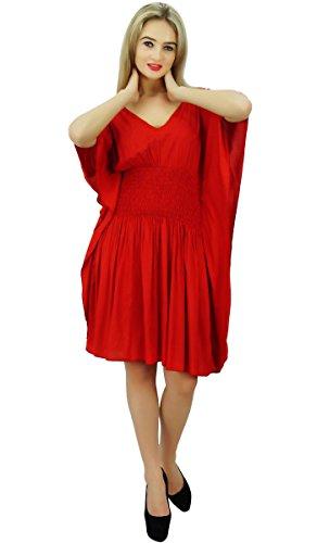 Bimba de Mujeres corto Rayón Kaftan kimono de la manga de la cintura de Smocked la playa del verano Coverup Rojo