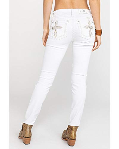 Skinny Jeans Embellished - Miss Me Women's Cross Embellished Hailey Skinny Jeans in White White 25 30