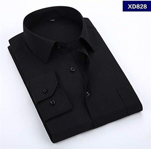 Camisa De Vestir De Los Hombres Color Sólido Más Tamaño 8XL Negro ...
