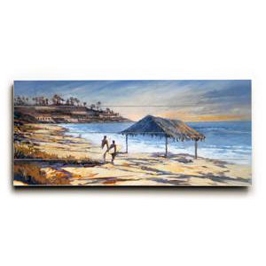 Windansea Beach by Artist Wade Koniakowsky 10''x24'' Planked Wood Sign Art by ArteHouse