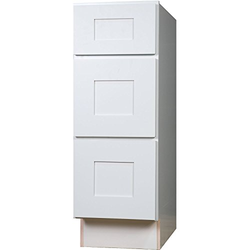 Everyday Cabinets 18 Inch Three Drawer Base Cabinet in Shaker White with 3 Soft Close Drawers 18″ RTA