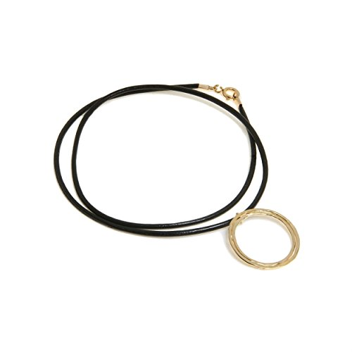 (Handmade Leather Necklace with Double Circular Statement Pendant, 14K Gold Plated or Sterling Silver)