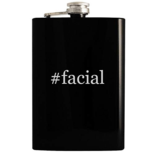 - #facial - 8oz Hashtag Hip Drinking Alcohol Flask, Black