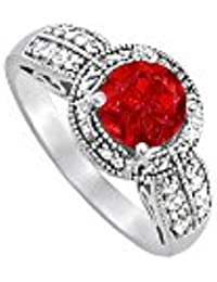 Beautiful July Birthstone Ruby and CZ Ring 2.00 TGW