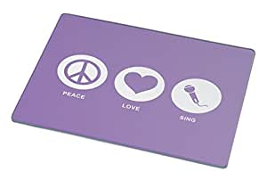 Rikki Knight Peace Love Sing Violet Color Large Glass Cutting Board
