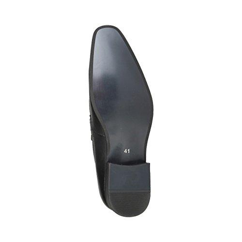 V 1969 - BARRY_NERO Mocassini Uomo Penny Loafer Scivolare Su Piatto Scarpe