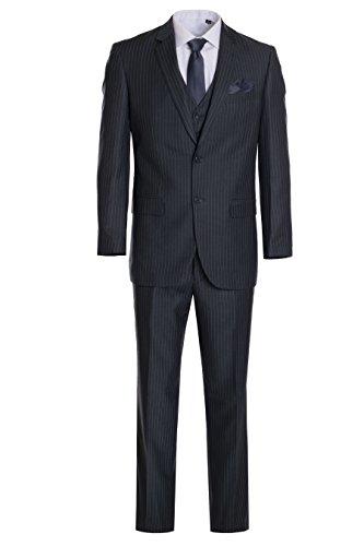 King Formal Wear Men's Premium Modern Fit Pinstripe Suit - Many Colors (Gray Pinstripe, 36 Regular)… - Lined Pinstripe Suit