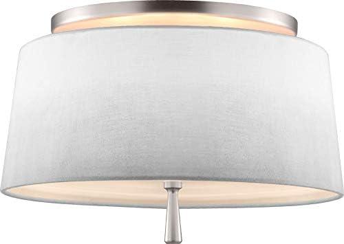 Feiss SF316SN Tori Linen Fabric Shade Semi Flush Ceiling Lighting, 2-Light 150 Watts 14 Dia x 9 H , Satin Nickel