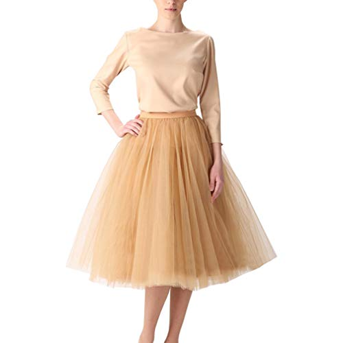 WDPL Adult A-line Tulle Skirt Bridesmaid Petticoat Tutu for Women (X-Small, Dark Champagne)