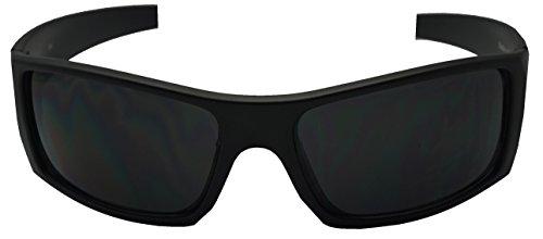 Men Limited Edition Super Dark Shades Wrap Around Motorcycle Biker Sunglasses (Matte Black, Black) - shadyglasses.us