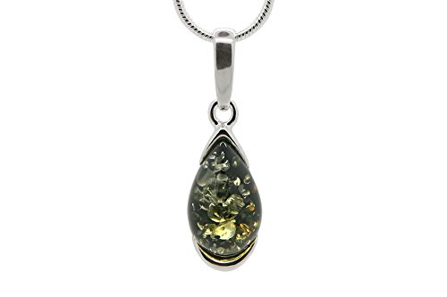925 Sterling Silver Drop Pendant Necklace Genuine Natural Baltic Green Amber. Chain Included