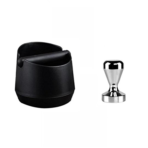 Jili Online COFFEE Tamper + KNOCK BOX Bin Espresso Grinds Waste Tube Grind Black