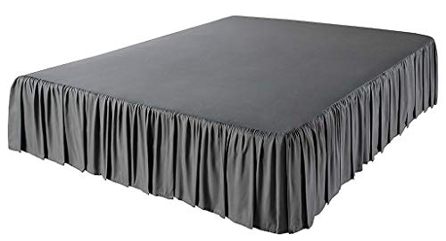 The Great American Store 3 Side Coverage Ruffle/Gathered Bed Skirt with 21 Inch Drop Length (Queen, Solid Grey) 1500 Series Brushed Microfiber - Covers Bed Legs and Frame