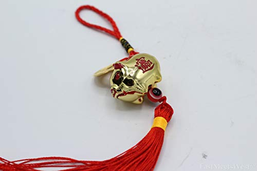 LuckyGifts Chinese Feng Shui Protection Boar | Pig Zodiac Year of Boar | Pig Wealth Inviting Pig Emperor Coin Tassel Hanging Charm