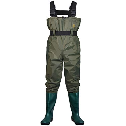 Mountalk Chest Waders for Men with Boots, Womens/Mens/Youth Durable Waterproof Canvas Fly Fishing Waders with Boots- Use for Hunting, Waterworks