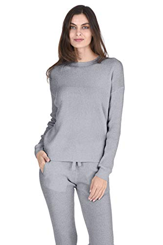 State Cashmere Women's 100% Cashmere Long Sleeve Crew Neck Pullover Loungewear Sweater Heather Grey