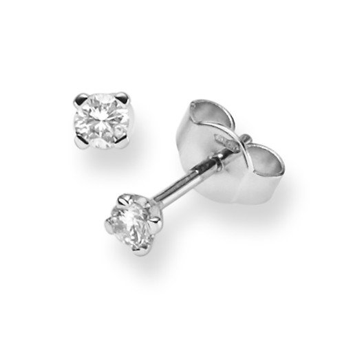 Solitaire Boucle d'oreille Bijoux diamants Cts. En Or Blanc 585