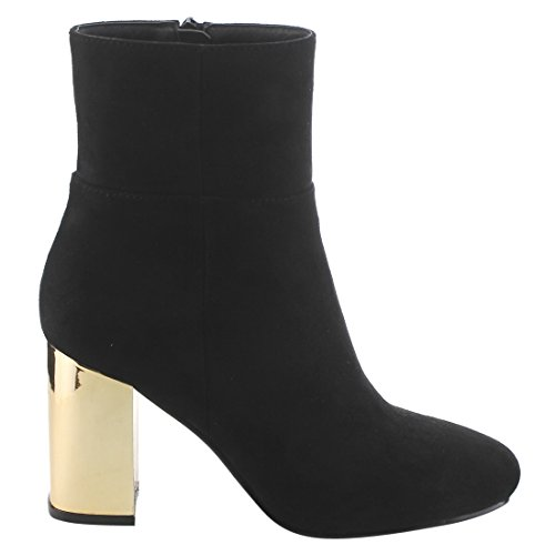 Ankle Booties Zipper Block High EI77 BETANI Chunky Top Heel Womens Side Suede Black wxqvI88nR4