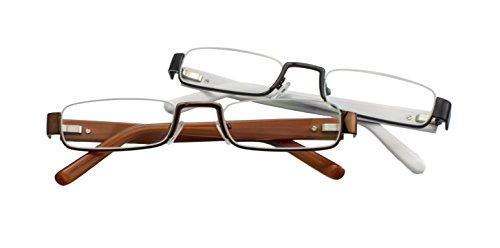 Lunettes de lecture Edison & King - lunettes demi-cerclées - verres durcis et antireflets - différentes coleurs et corrections Noir-Blanc