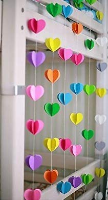 Rainbow Heartin Paper Garland Party Decorations , birthday decorations for  girls,birthday decoration items,birthday decorations materials,marriage