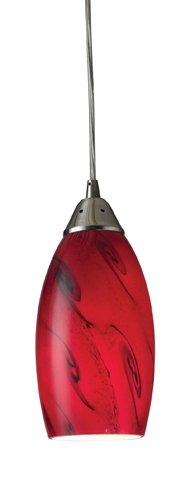 - Elk 20001/1RG Galaxy 1-Light Pendant In Red And Satin Nickel Finish