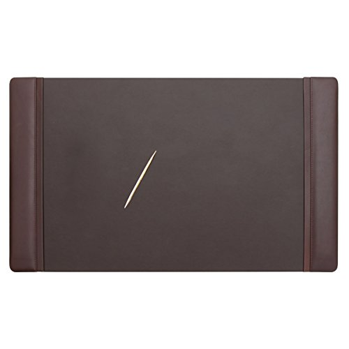 Dacasso Chocolate Brown Leather 34 by 20-Inch Desk Pad with Side Rails Pad Chocolate
