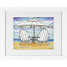 Two Chairs with Champagne - Beach House Picture Ocean Shore Framed Art Print