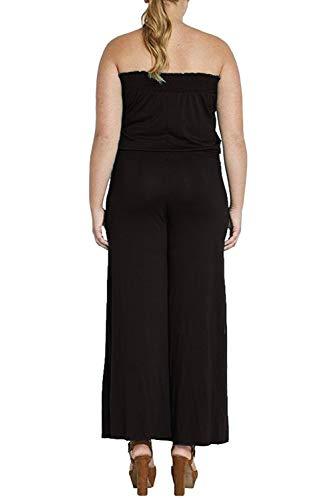 Sans Salopette Simple Ample Col Large Manche Extra Jambes One Combinaison Bustier Jumpsuit Femme Piece Pantalon Grande Noir Casual Taille Eté Bateau wYrqIYT
