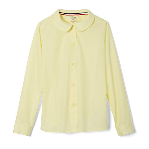 - French Toast Big Girls' Long Sleeve Peter Pan Collar Blouse, Yellow, 8