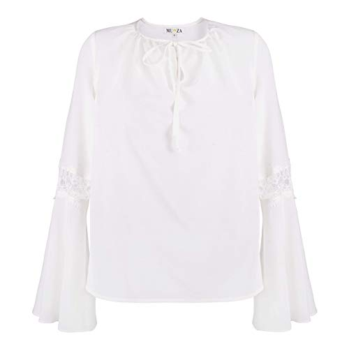 36f51f3590201f Amazon.com: Bell Sleeve Silk Top With Lace White Bohemian Blouse ...
