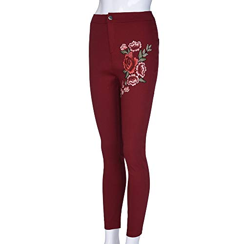 Lápiz De Skinny Vaqueros Estirar Vino Tendencia Pantalones Fresco Npradla Floral Rojo Jeans Alta Casual Mujeres Elegante Applique Cintura Moda OXHxd8Pwn