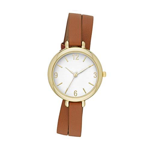 ZouZou Women's Three-Hand Watch Cognac Vegan Leather Double Wrap Strap (FMDZZ008)