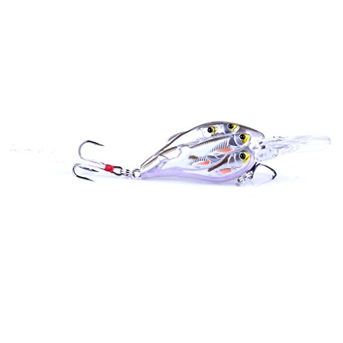 (7.5cm 9g Fishing Hook Lures Minnow Salmon Bass Trout Crank Fishing Bait Fishhook Artificial Bait Tackle)